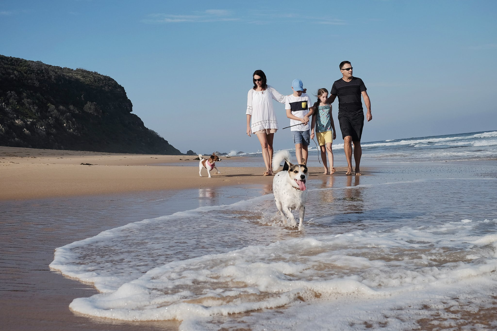 family walking on beach with their dogs