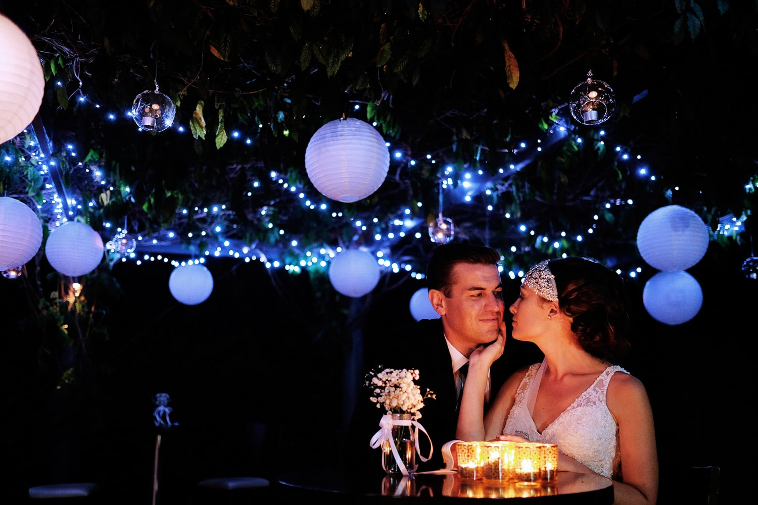 Bride and groom candle light and close