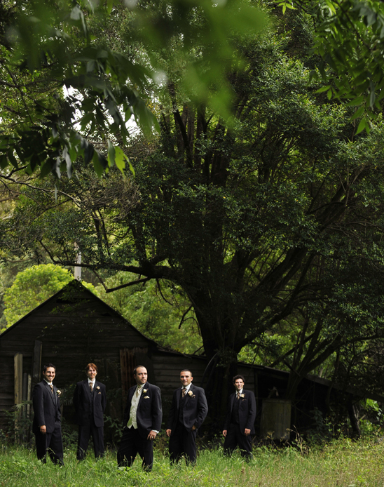 wedding day suits in a bush setting